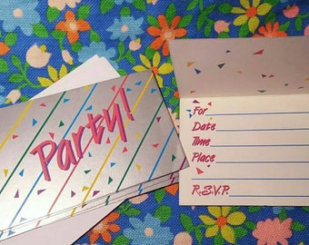 "Set of 5 rad 1980s ""Party!"" Invitations with envelopes"