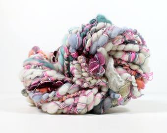 dance hall .. art yarn, hand spun yarn, handspun art yarn, wool yarn, boucle yarn, bulky yarn, handspun wool yarn