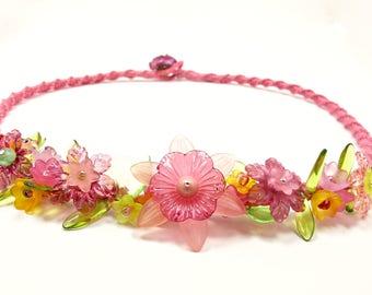 flower necklace, spring jewelry, macrame necklace, statement necklace, flower jewelry, mothers day necklace, garden jewelry, jewelry for mom