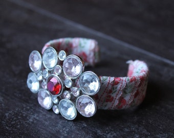 Cuff bracelet with poppies and pink and white rhinestones