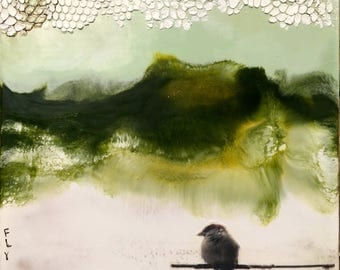 Original encaustic painting- Perched