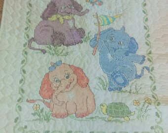 Baby Elephants baby quilt, crib cover, new Mom gift