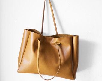 SALE / Camel Brown Leather Shopper / Leather Handbag / Leather Tote / Shoulder Bag / Brown Leather Bag / Leather Bag / Women's Handbag /