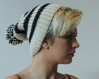 Handmade Black and Cream Hat
