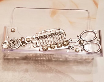 Gypsy HairStylist Business Card Holder/Scissor And Comb