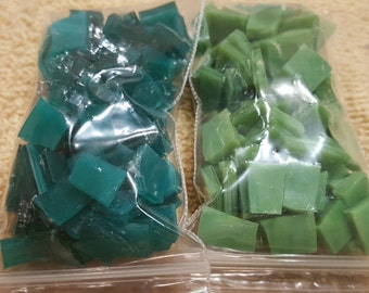 """Mosaic Tiles 200 pcs 1/2"""" GREEN TEAL Stained Glass Mosaic Tile"""