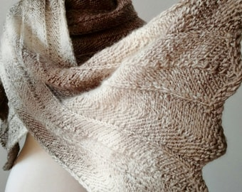 Feather Oversized Scarf/Wrap - Hand Knit In Taupe and Cream - Soft Warm Fall Fashion Women's Scarf Textured Knit Rustic Owlfeather