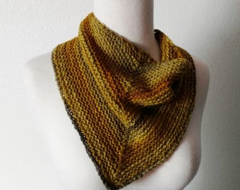Mustard Yellow Gold and Grey Hand Knit Kerchief Cowl in Soft Merino Wool - Triangle Scarf, Mini Cowl, Handspun, Hand Knit, Unisex.