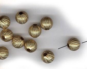 vintage brass beads 8mm hollow brass CHASED MELON design, one DOZEN beads russian gold plated brass beads super duper