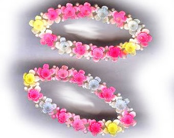 vintage celluloid flower connector shapes ONE PAIR colorful carved flowers all around the front made in JAPAN bridal finding