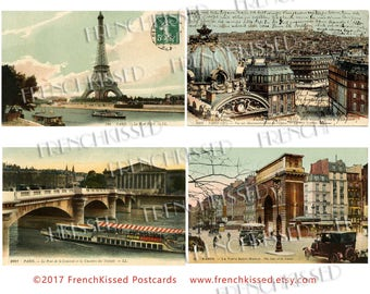 Paris Rooftops to River Turquoise Sepia Antique French  Postcards Instant Download Page