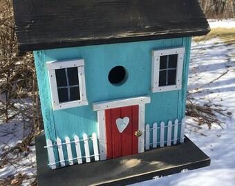 Primitive turquoise Salt Box Birdhouse Folk Art Rustic Country