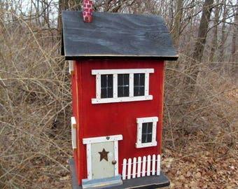Primitive Birdhouse Folk Art Rustic Country Colonial Red Salt Box Garden Patio
