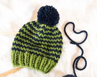 Baby Knit Hat / Child Chunky Striped Beanie / Knit Baby Hat Pom Pom / Toddler Knit Baby Hat / Knit Striped Child Hat