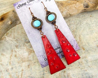 Turquoise Red earrings - Colorful earrings - Hippie earrings - Boho jewelry - Bohemian jewelry