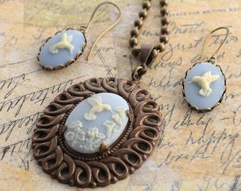 Hummingbird Cameo Necklace Set, Hummingbird Earrings Set, Wedgwood Blue Cameo Earrings, Hummingbird Jewelry, Gift for Mom, Gift for Grandma