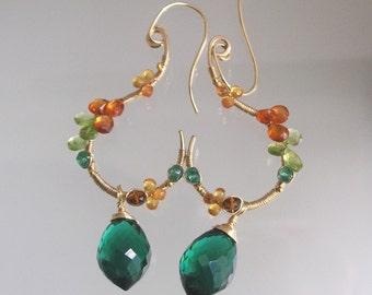Gemstone Earrings, Sculptural Gold Filled Dangles, Orange Spessartite Peridot Sapphire, Wire Wrapped Jewelry, Green Quartz, Artisan Made