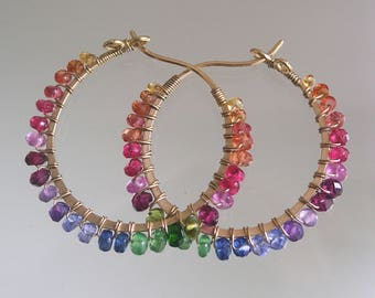 Rainbow Gemstone 14k Gold Filled Hoops, Lightweight Small Earrings, Original from 1990's