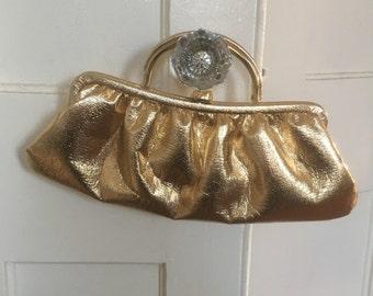 Vintage Gold Lame Handbag, c. 1960s, Very Madmen Style
