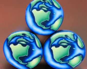 Set of 3 MINI Planet Earth Polymer Clay Circle Canes (39B)