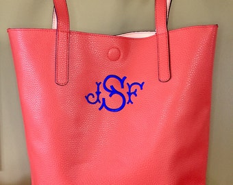 Personalized Purse - Custom Tote Bag for Her -  Monogram Purse for Mom - Women Vinyl Tote Bag with Monogram - Travel Gift for Her
