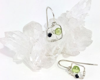 Sterling Gemstone Peridot Black Spinel Wire Wrapped Earrings