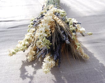 Larkspur and Lavender Table Arrangements or Rustic Centerpieces for Weddings, Summer Parties and Celebrations