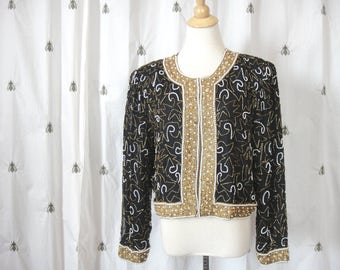 Vintage Sequin Beaded Blazer, Jacket, Black and Gold, Pearls, Formal, Fancy, Silk, Size Extra Large