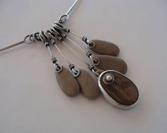 Brown Beach Rock Sterling Silver Oxidized Artisan OOAK Choker Necklace