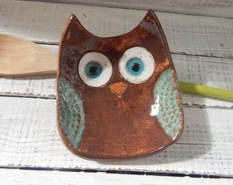 Ceramic Owl Bowl- Owl dish -Owl Bowl- Jewelry Holder - Original - Jewelry Dish- Spoon Rest- Soap Dish- Trinkets- Holiday Gift