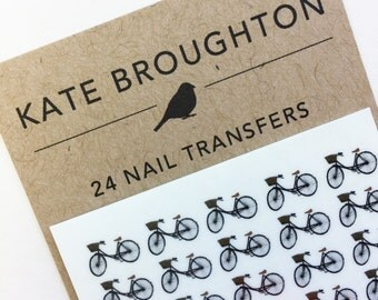 bicycle nail transfers - illustrated bike nail art stickers - bike nail decals - bike gift / gift for cyclist