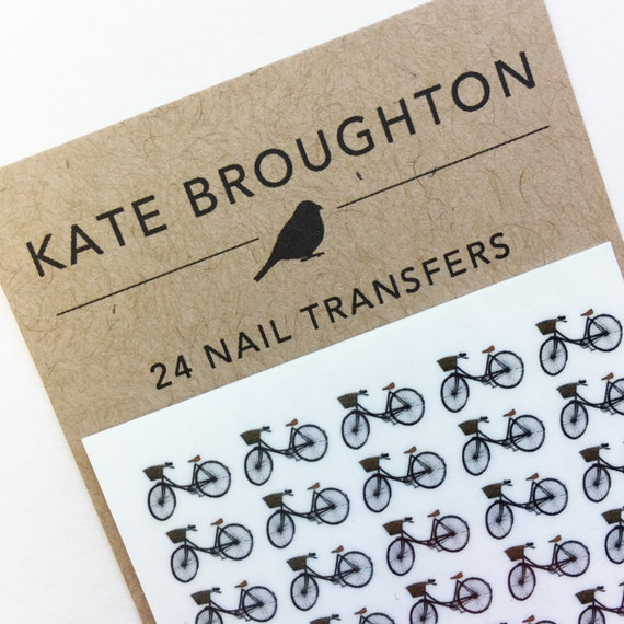 bicycle nail transfers - illustrated nail art stickers