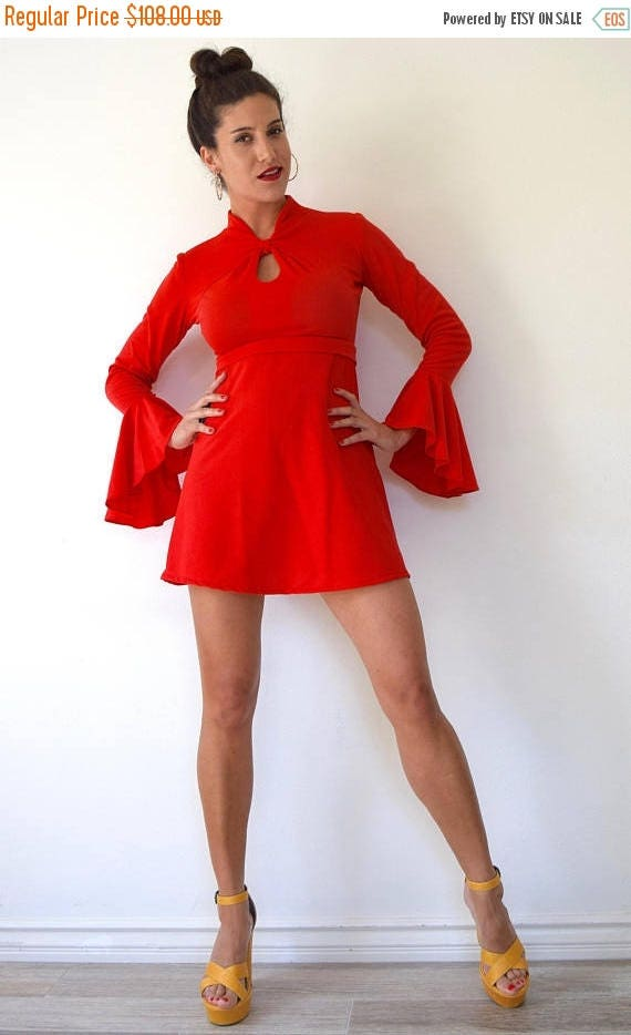 SPRING SALE / 30% off Vintage 70s Heartbreaker Bright Red Flounce Sleeve Mini Dress (size small, medium)