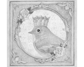 Bird Queen Drawing Original Art Pencil Black and White Nature Cute