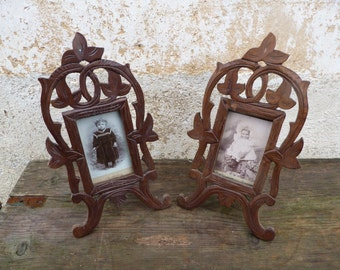 Vintage Antique french Victorian Cut out fret work pair of wood & glass photo  frames /tramp art