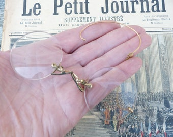 Vintage Antique 1890s French Victorian rounded plated gold eyeglasses / Pince nez /Lorgnons