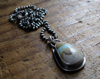 Handmade Sterling Silver and Boulder Turquoise Necklace Pendant