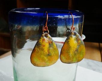 Handmade Enameled  Earrings - Hammered and Torchfired with Burnt Orange Earring Hooks - Mustard Picks