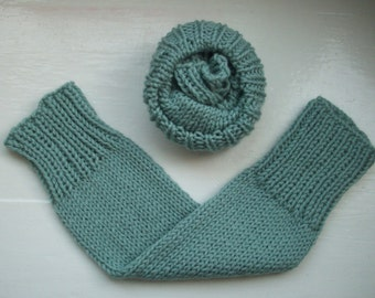 Chunky leg warmers, warm wool, soft duck egg blue  by SpinningStreak