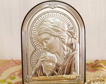 Vintage Virgin Mary Jesus silver plaque italy