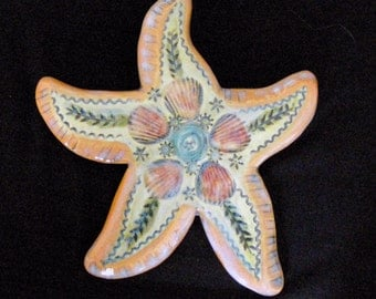 Ceramic Sea Star wall hanging for home or garden