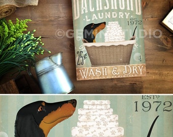 Dachshund dog Laundry Company basket illustration graphic art on canvas by stephen fowler