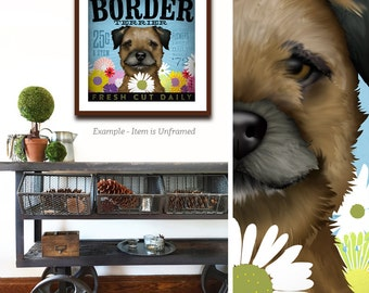 Border Terrier dog flower company artwork illustration giclee archival signed artists print  by stephen fowler