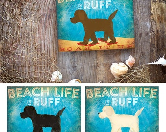 Beach Life doodle goldendoodle labradoodle dog in sandals illustration artwork on gallery wrapped canvas by Stephen Fowler Customize it!