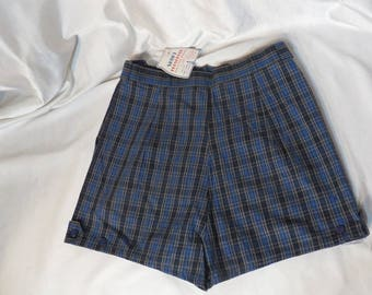 Vintage 50s Shorts High Waist Metal Zipper Rockabilly VLV Pinup MCM Cotton All Cotton New Old Stock Blues Plaid Pinup