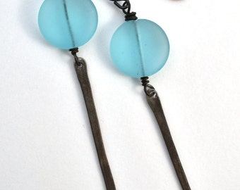 Dusty blue glass bead earring with hammered steel dangle
