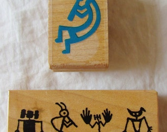 Rubber Stamps -- KOKOPELLI - set of two  - DeSTaSH, kokapelli, Native American, flute player, card making, prehistoric design, fertility