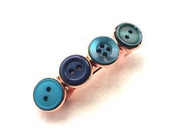 Bluegreen Vintage Button Barrette