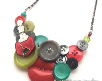 Funky Key Blue, Gray, Red, and Chartreuse Vintage Button Statement Necklace