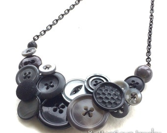 Grey and Black Vintage Button Necklace
